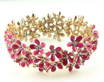 Vintage Enamel Rhinestone Floral Bracelet Raspberry Pink Expandable Bracelet