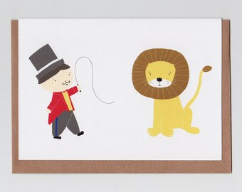 Lion Tamer | Greetings Card with Circus Design