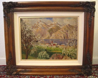 """Original Landscape Oil Painting on Canvas by """"Charles Frederick Krantz"""" Early CA. Artist"""