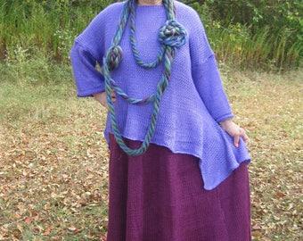Asymmetrical handknittied Lagenlook/Bohemian Tunic with long sleeves