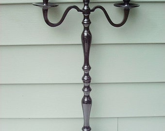 """Wedding Candle Candelabra 3 arm Shabby Candle Holder 24"""" or 26""""  tall"""