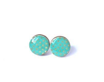 Turquoise Ear Studs in Japanese Chiyogami Paper Gold polka dots