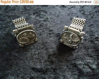 ON SALE Vintage Steampunk Cuff Links Mid Century Collectible Costume Jewelry 1980s