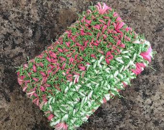 Crochet Double Sided Dish Scrubby - Pink & Green
