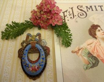 Vintage Victorian Enamel Brooch, Edwardian Enamel Brooch, Art Nouveau Enamel Brooch
