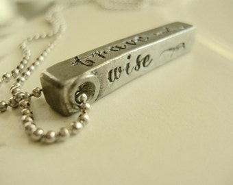 Personal Makeup 4 Sided Hand Stamped Pewter Bar Necklace, Loved, Brave, Kind, Wise