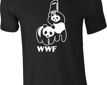 WWF Panda T-Shirt Panda Wrestling Funny Chair Fight Gym MMA Wild Life Birthday Gift Mens Top