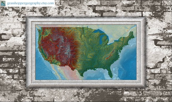 US elevation map high resolution digital print map print