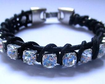 Swarovski Crystal And Black Leather Bracelet