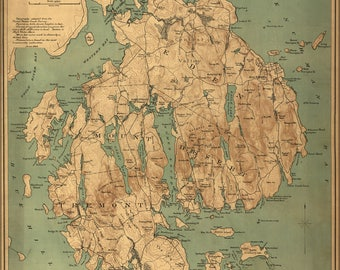 Poster, Many Sizes Available; Map Of Mount Desert Island, Maine 1893