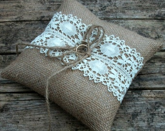 Burlap/Hessian Wedding Ring Bearer Pillow/Cushion in Natural Burlap with Handmade Vintage Cream Cotton/ Linen  Lace