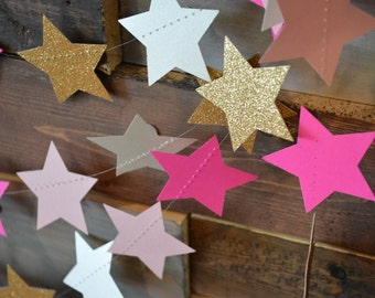 Twinkle, Twinkle Gold Glitter and Pink Ombre Glittery, Shimmering Star Garland Party, Photo Prop, Baby Shower, Birthday Party, Etc