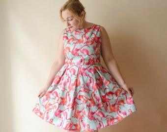 Flamingo Dress, Summer Sleeveless Dress with Pockets, Rockabilly Retro Dress, Pinup Fun Print