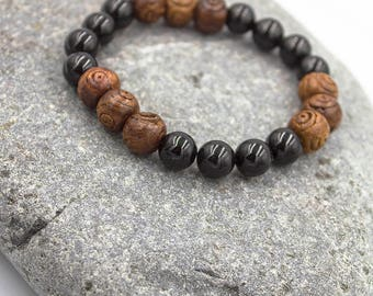 Unique onyx and wood bracelet. Only One Single Copy.
