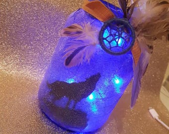 Wolf lantern - Wolf Night Light - Fairy Lights - Wolves - Howling at the Moon - Room Lighting - Dreamcatcher