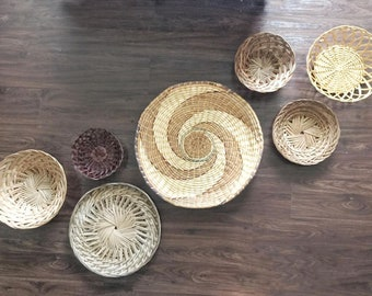 LARGE Vintage Wicker Basket Wall Art Bundle - Wicker Basket Set - Vintage Basket Collection - Wall Hanging Basket - Boho Wall Decor - Wicker