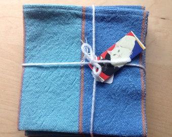 Handwoven cotton napkins 4 blues green