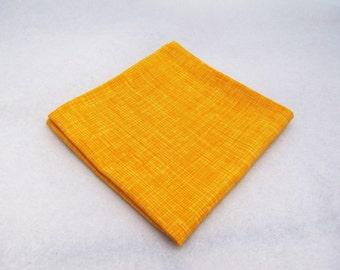Men's Pocket Square - Gold Crosshatch