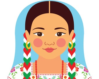 Mexican China Poblana Wall Art Print features cultural dress drawn in a Russian matryoshka nesting doll shape
