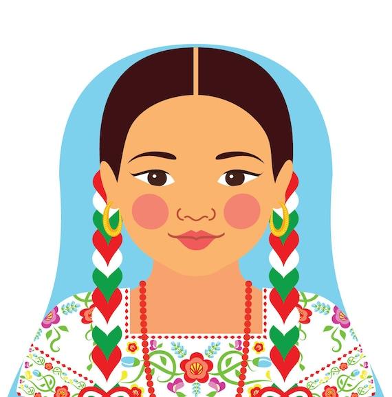 Mexican China Poblana Art Print with folk dress, matryoshka