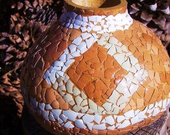 Gourd eggshell decoration Southwestern style natural shell color diamond design