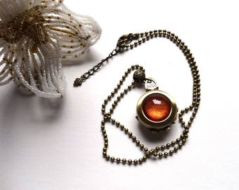 Handmade cabochon orange glitter necklace pendant secret bronze ball holder/photo box / gift idea for woman / mother's day