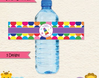 Music Party Water Bottle Labels  • Music Party  • Maracas • Drums • Xylophone •First Birthday • Music Decorations • Editable • 031a