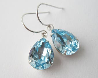 Light Blue and Silver Teardrop Earrings Aquamarine Crystal Dangles Bridesmaid Earrings Swarovski Elements Summer Wedding Jewelry