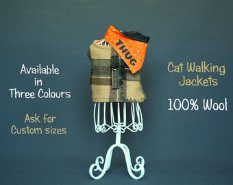 Cat walking jacket - Wool jacket for pet - Cat harness for slim fit cat - Cat vest costume - luxury cat costume - winter clothes for cat