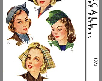 Vintage McCall Misses'Girl's Millinery Dutch Hat Fabric Sewing Pattern # 1071 Copy