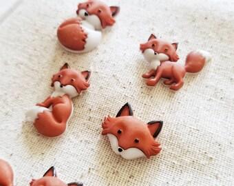 Cute fox magnets, cute fox pushpins, cute magnets, fox magnets, red fox, geoswag, geocache, bulletin board, fridge magnets, photoboard