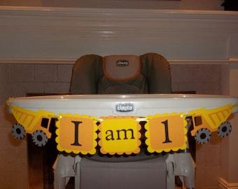 Construction, dump trucks, birthday banner, I am 1 - first birthday, high chair banner