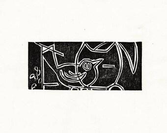 """Original Woodcut Cat Art Handmade Limited Edition Print """"01.25-Linear Bird Watching"""""""