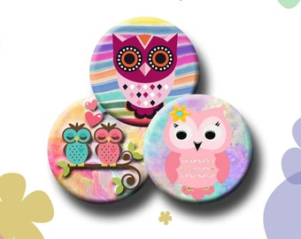SWEET OWLS  -  Digital Collage Sheet 1.629 inch round images for 1.25 inch buttons. Instant Download #156.