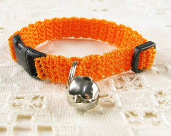 Cat Collar Bright Orange Marmalade Crochet Kitty Kitten Cat Collar