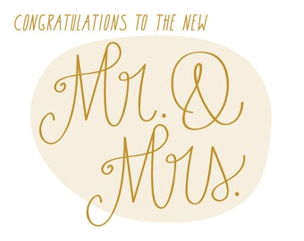 Wedding Congratulations Card. Congratulations To The New Mr. & Mrs. Gold.
