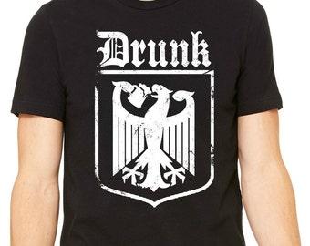 Drunk T-Shirt, Funny Drinking T-Shirts, Drunk Coat of Arms Tshirt, German Beer Tshirt, German Coat of Arms, Beer Mens Tshirt, Get Drunk Tee