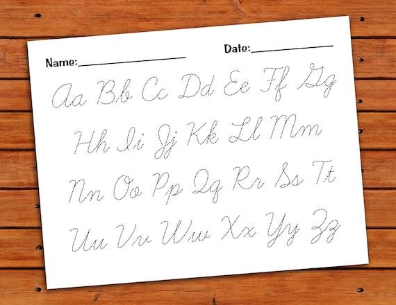 cursive alphabet trace worksheet pdf printable. Black Bedroom Furniture Sets. Home Design Ideas