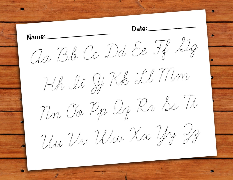 Cursive Alphabet Trace Worksheet Pdf Printable