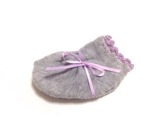 Infant Girl Socks With Orchid Purple Crocheted Shell Stitch-Size 0-6 Months