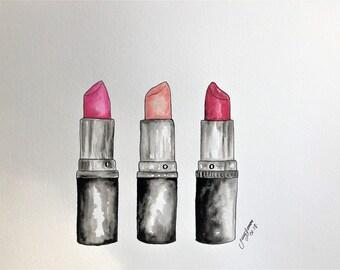 """Lipstick Watercolor Illustration watercolor 11""""x14"""""""