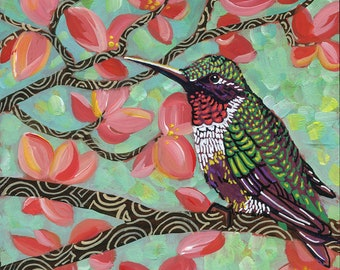 "6x6 inch Archival Print on Wood  ""Spring Hummingbird #1"""