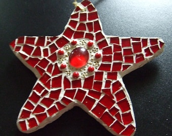 Red Mosaic Hanging Star Ornament