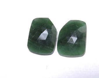 2 Pcs Matched Pair Natural Green Onyx Faceted Rose Cut Fancy Shaped Loose Gemstone Beads .100% Natural Beads. Size 17X13 MM
