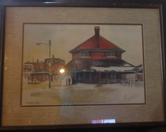 "Vintage Watercolour Titled ""Railroad Stations"" Signed Ranulph Bye"