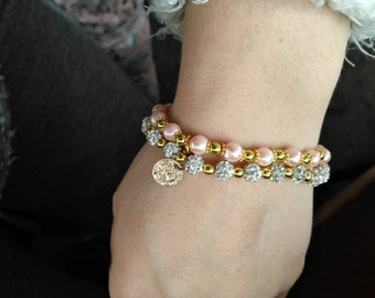 Stacker bracelet pink and gold