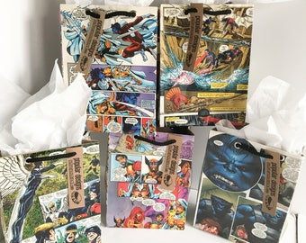5 X-Men Comic gift bags / Recycled comic book/ handmade superhero gift bag / recycled comic gift bag