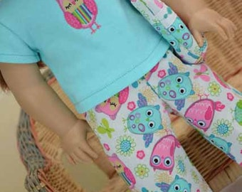 American Girl Doll 3 piece PAJAMA Loungewear Set with Appliqued Owl Blue TEE Top and Pants and Overnight BAG for 18 Inch Doll