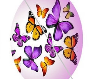 18x25mm, purple and yellow butterflies flying
