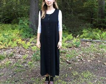 Black Button Down Sleeveless Maxi Dress